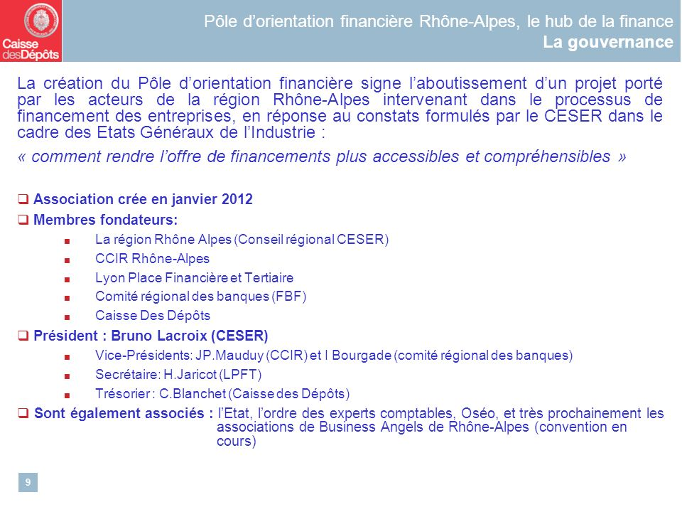 Pôle d'orientation financière Rhône-Alpes, le hub de la finance La gouvernance