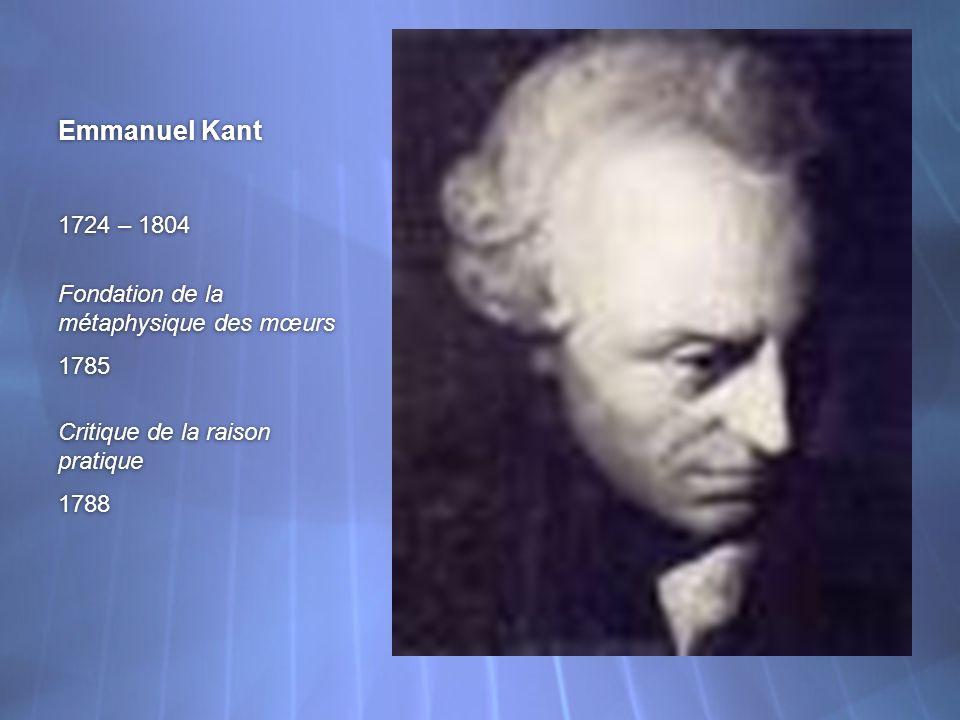 Emmanuel Kant 1724 – 1804 Fondation de la métaphysique des mœurs 1785