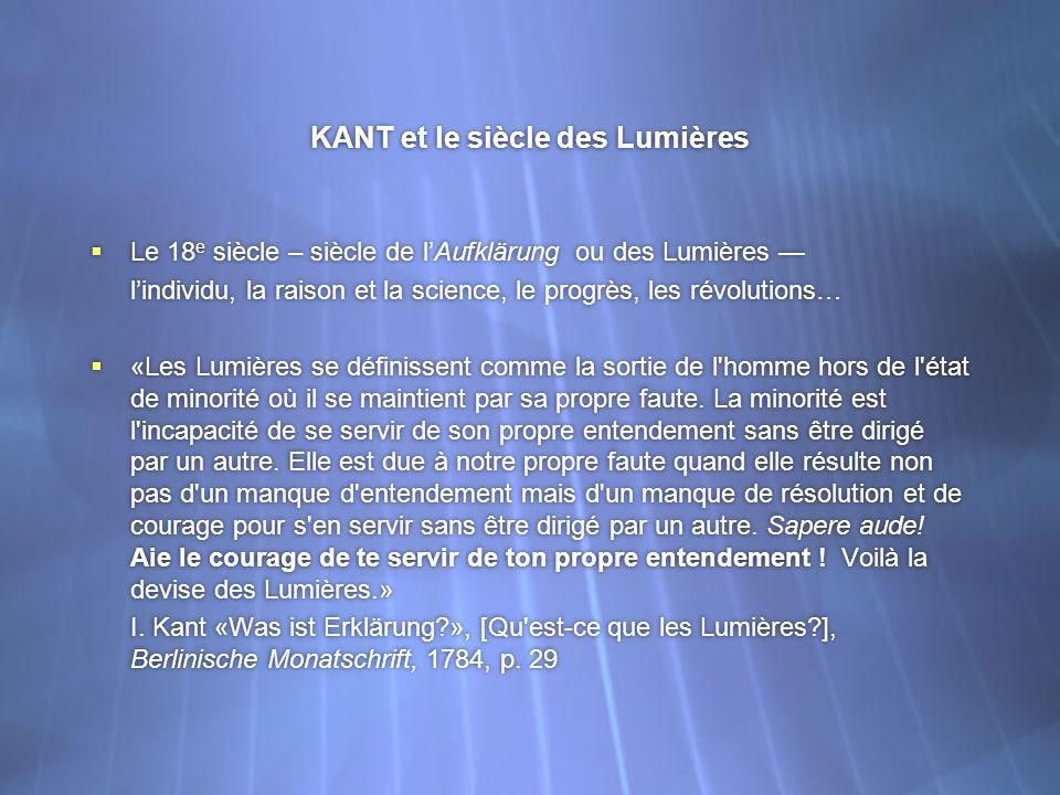 KANT et le siècle des Lumières