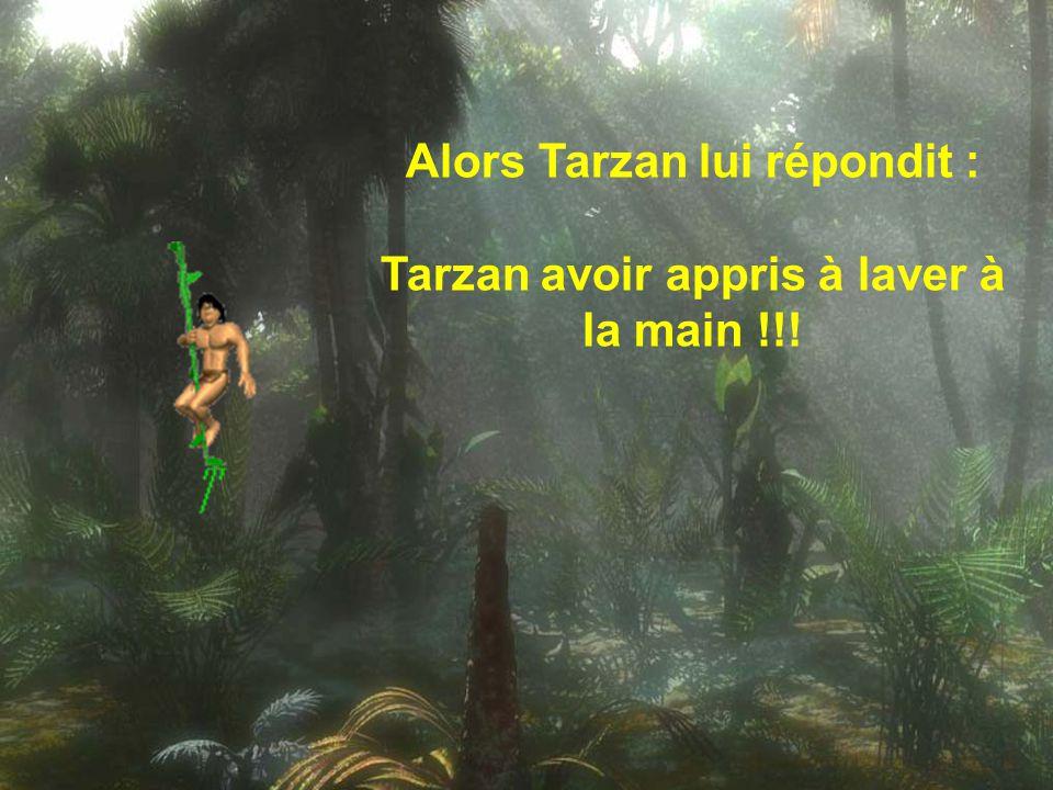 Alors Tarzan lui répondit : Tarzan avoir appris à laver à la main !!!