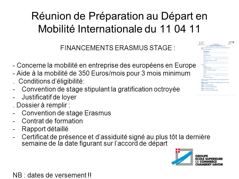 FINANCEMENTS ERASMUS STAGE :
