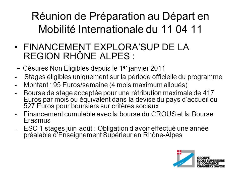 Réunion de Préparation au Départ en Mobilité Internationale du 11 04 11