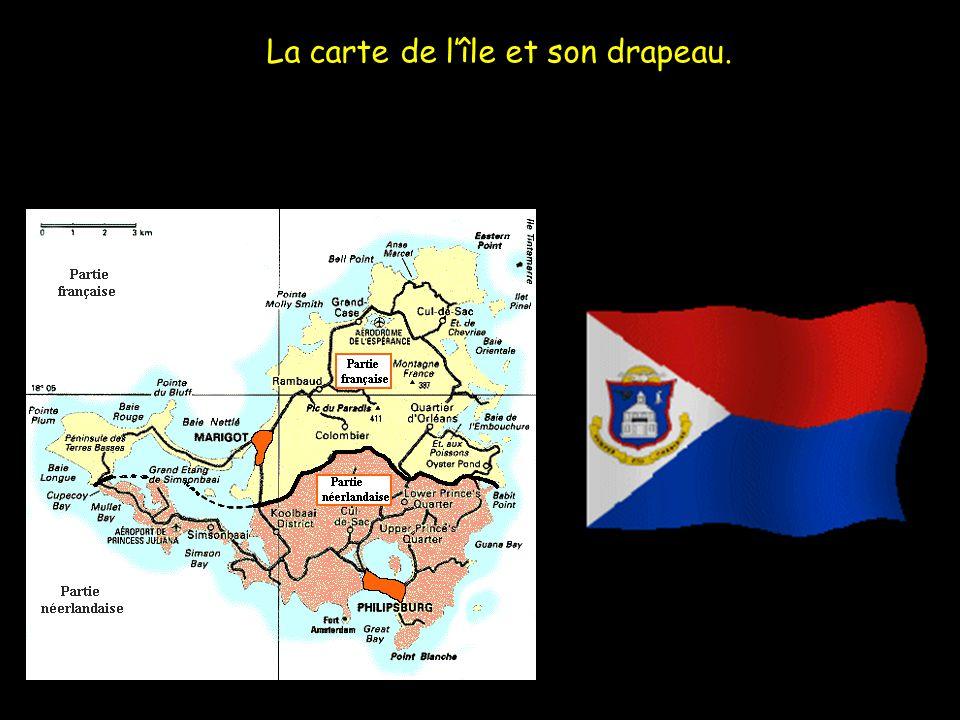 La carte de l'île et son drapeau.