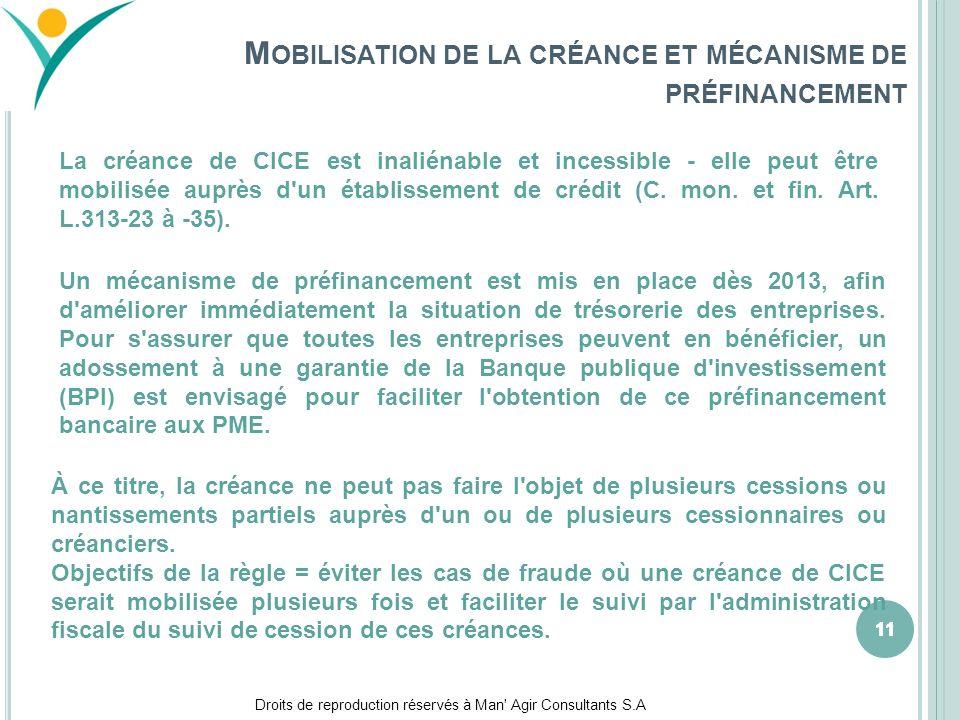 Mobilisation de la créance et mécanisme de préfinancement