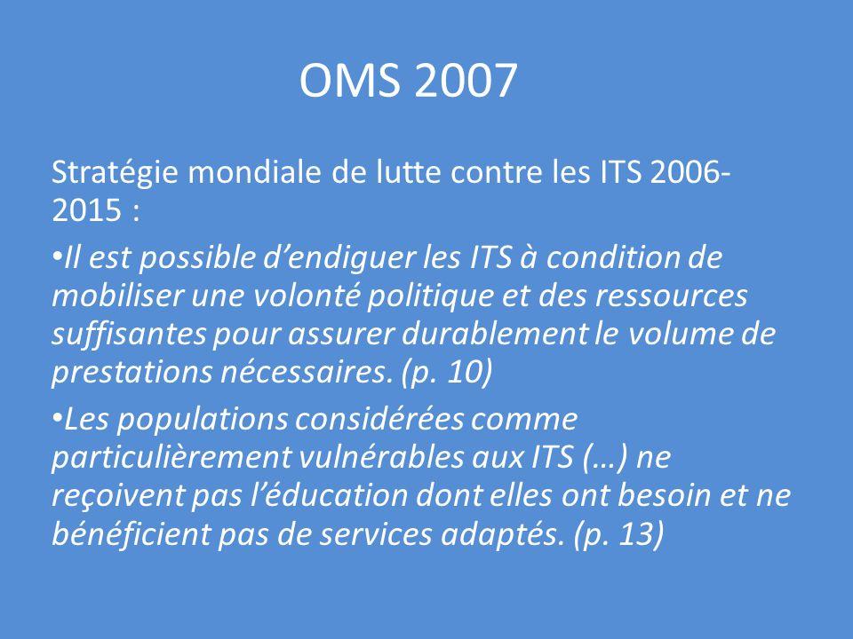 OMS 2007 Stratégie mondiale de lutte contre les ITS 2006-2015 :