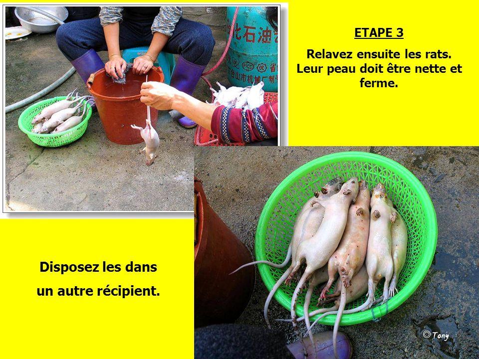 Relavez ensuite les rats. Leur peau doit être nette et ferme.