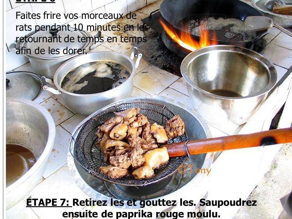 ETAPE 6 Faites frire vos morceaux de rats pendant 10 minutes en les retournant de temps en temps afin de les dorer.