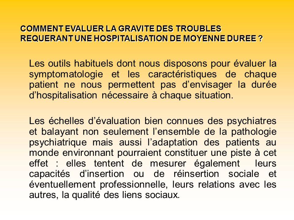 COMMENT EVALUER LA GRAVITE DES TROUBLES REQUERANT UNE HOSPITALISATION DE MOYENNE DUREE