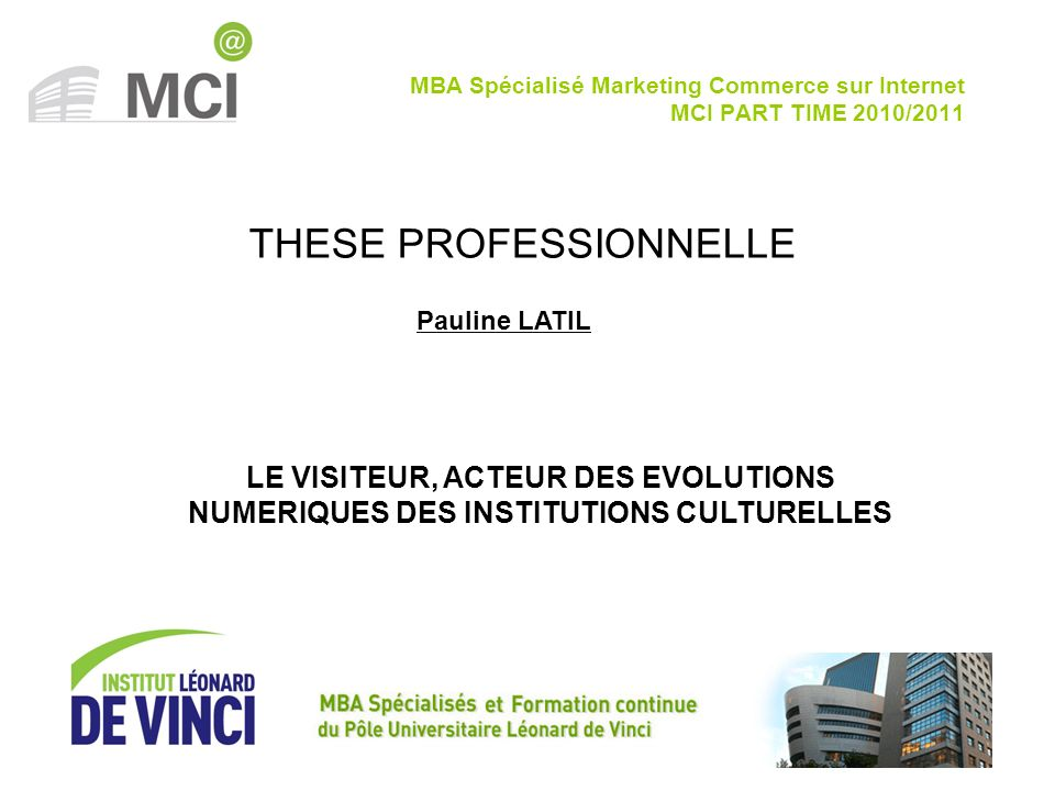 MBA Spécialisé Marketing Commerce sur Internet MCI PART TIME 2010/2011