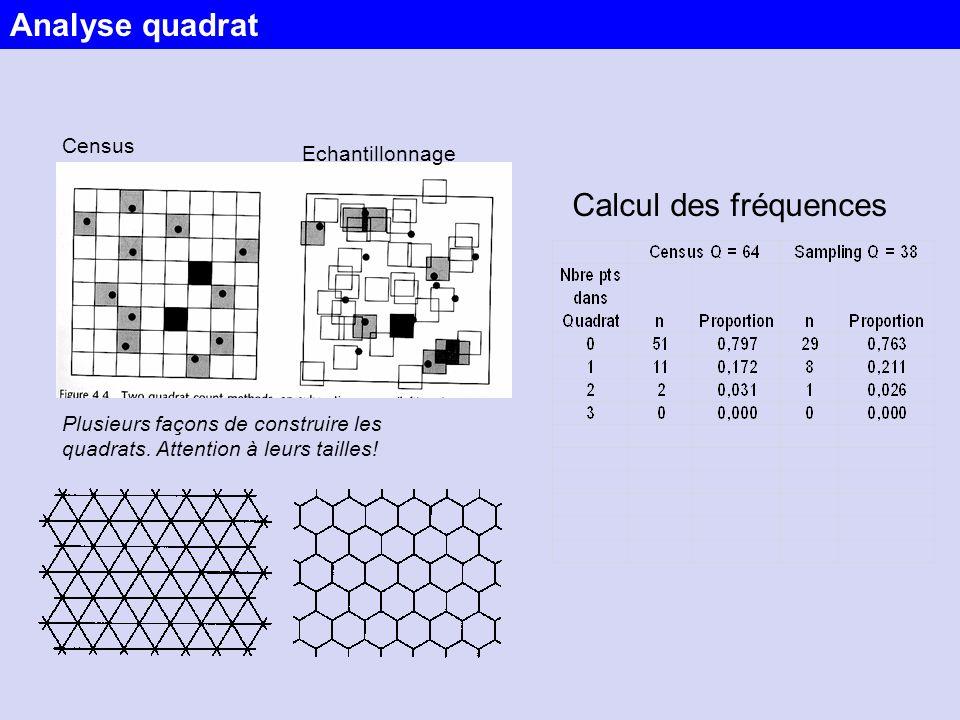 Analyse quadrat Calcul des fréquences Census Echantillonnage