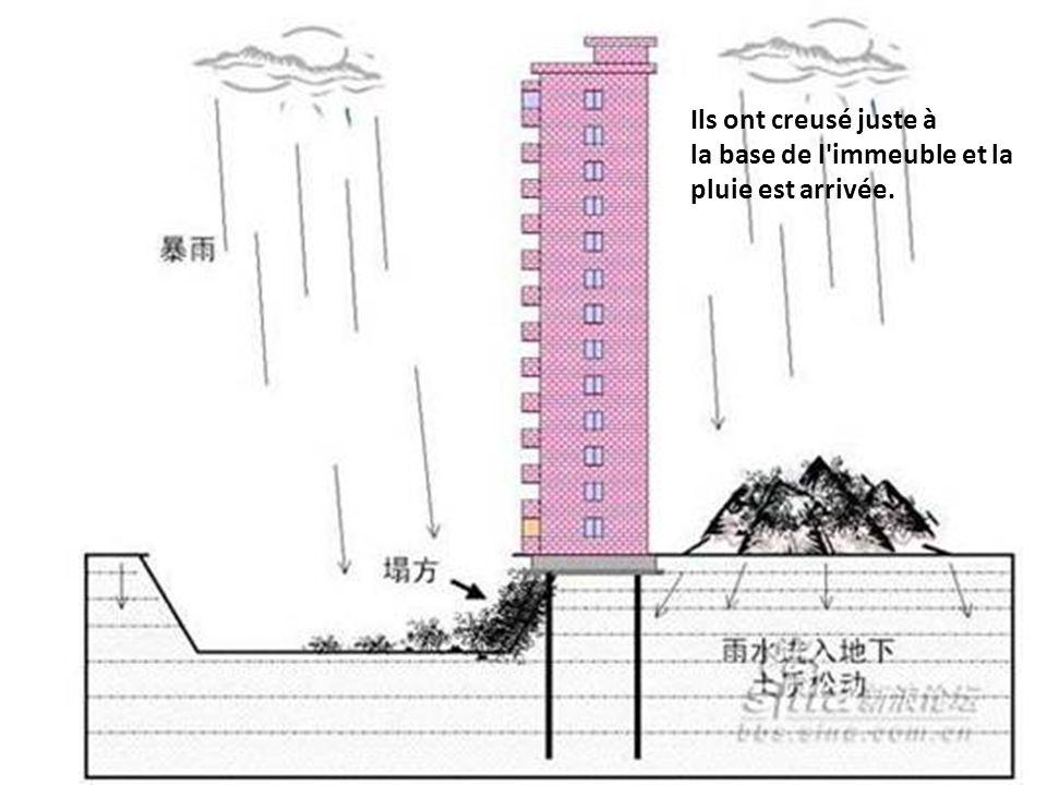 Ils ont creusé juste à la base de l immeuble et la pluie est arrivée.