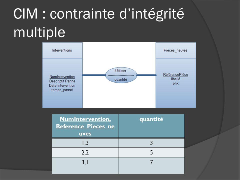 CIM : contrainte d'intégrité multiple