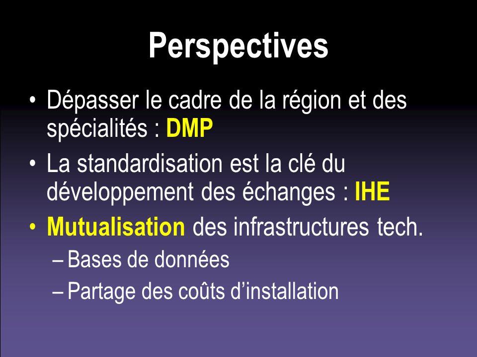 Perspectives Dépasser le cadre de la région et des spécialités : DMP