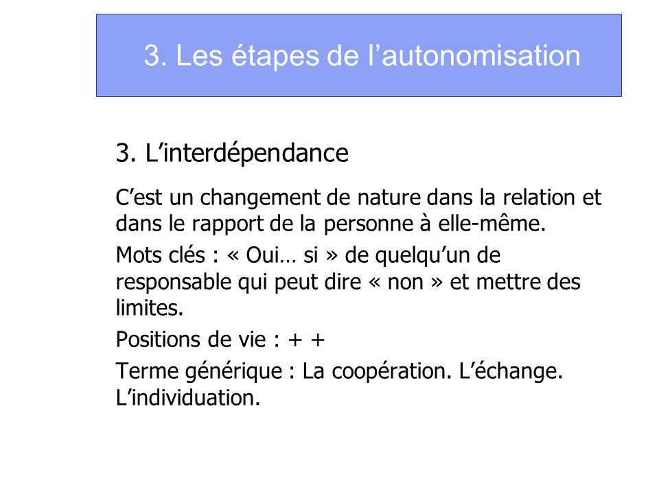 3. Les étapes de l'autonomisation