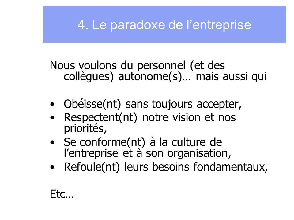 4. Le paradoxe de l'entreprise