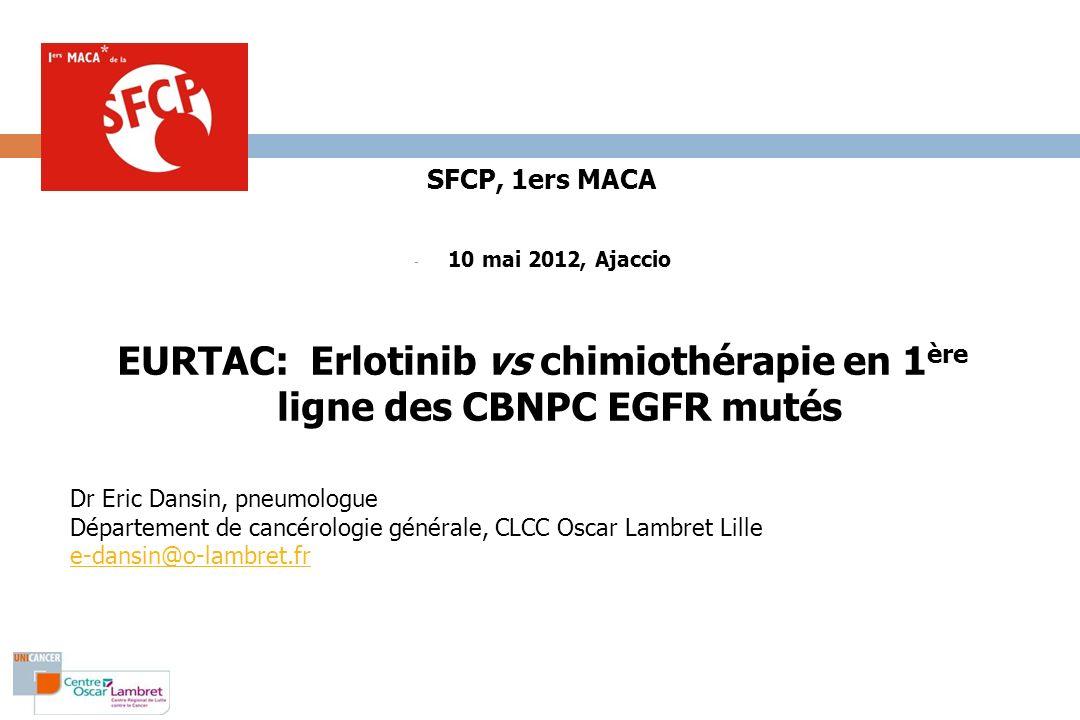 EURTAC: Erlotinib vs chimiothérapie en 1ère ligne des CBNPC EGFR mutés