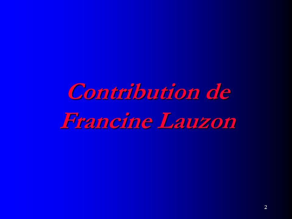 Contribution de Francine Lauzon
