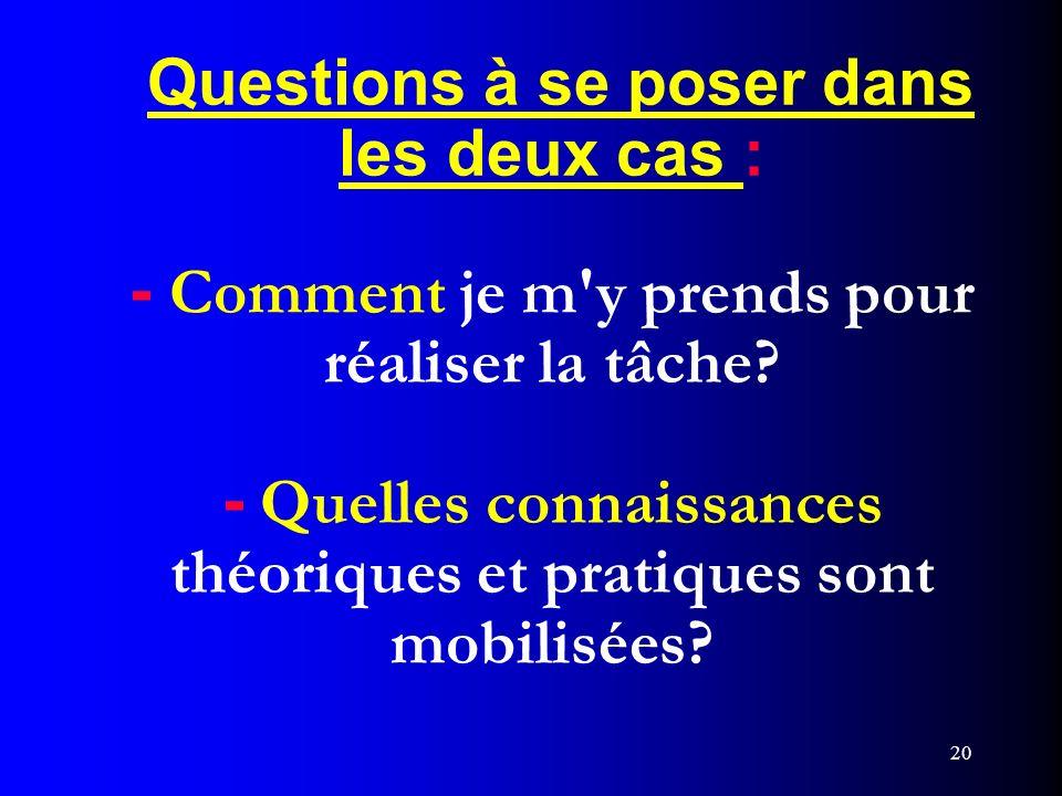 Questions à se poser dans les deux cas : - Comment je m y prends pour réaliser la tâche - Quelles connaissances théoriques et pratiques sont mobilisées