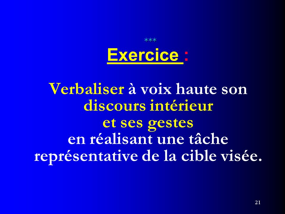 *** Exercice : Verbaliser à voix haute son discours intérieur et ses gestes en réalisant une tâche représentative de la cible visée.