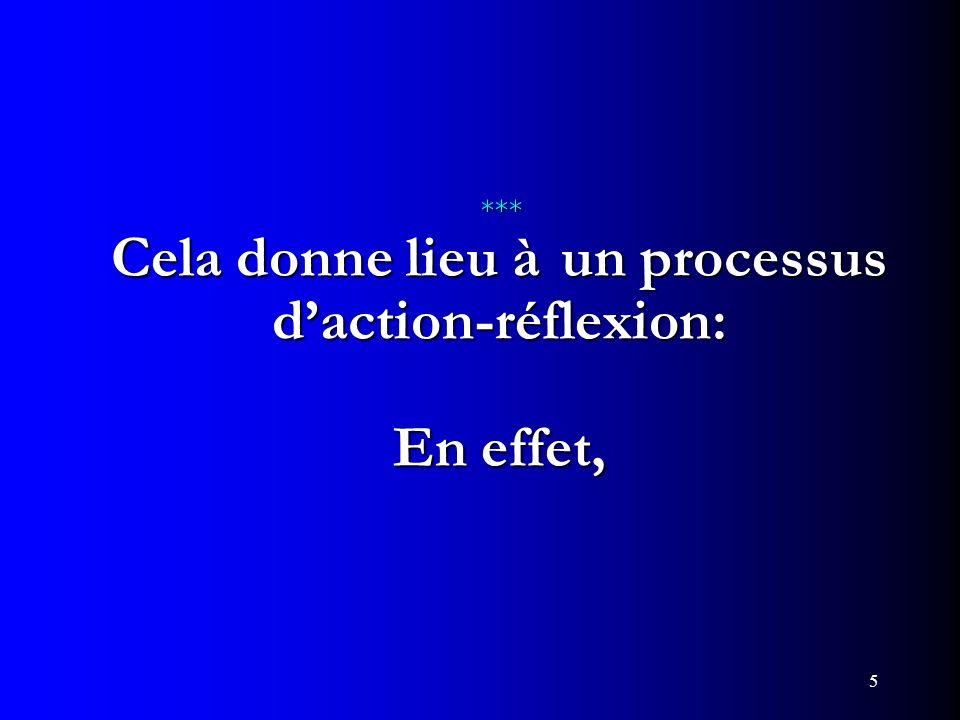 *** Cela donne lieu à un processus d'action-réflexion: En effet,
