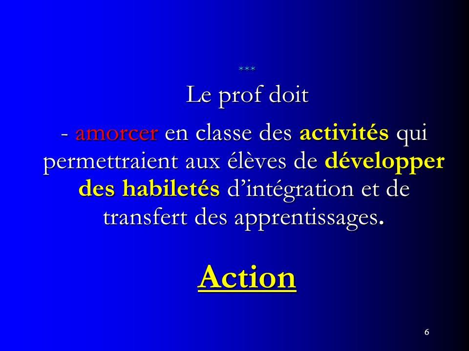*** Le prof doit - amorcer en classe des activités qui permettraient aux élèves de développer des habiletés d'intégration et de transfert des apprentissages. Action