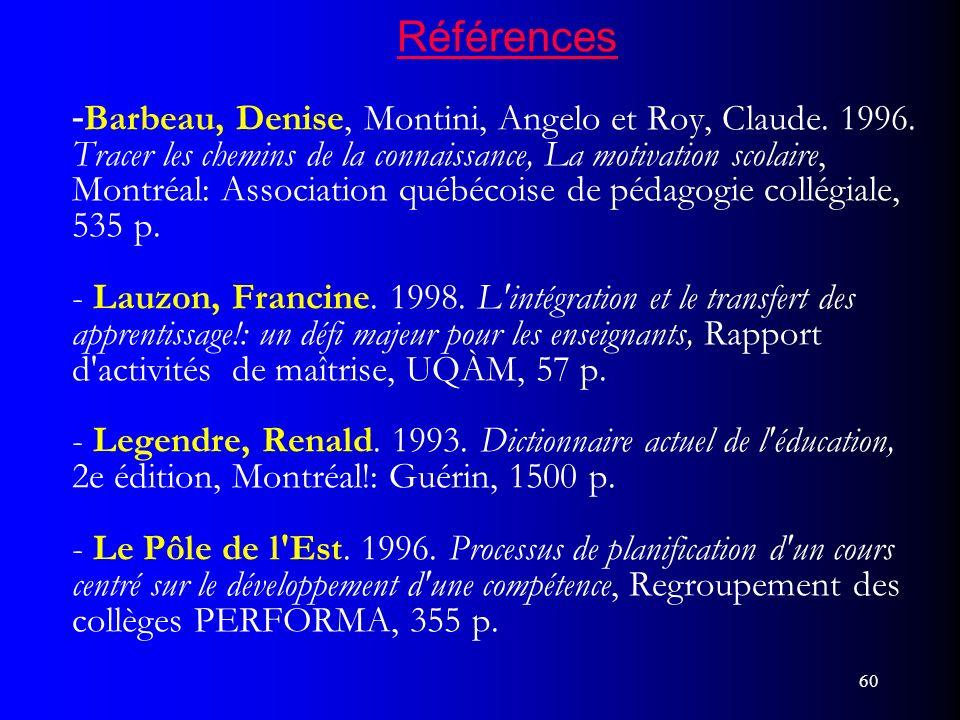 Références -Barbeau, Denise, Montini, Angelo et Roy, Claude. 1996