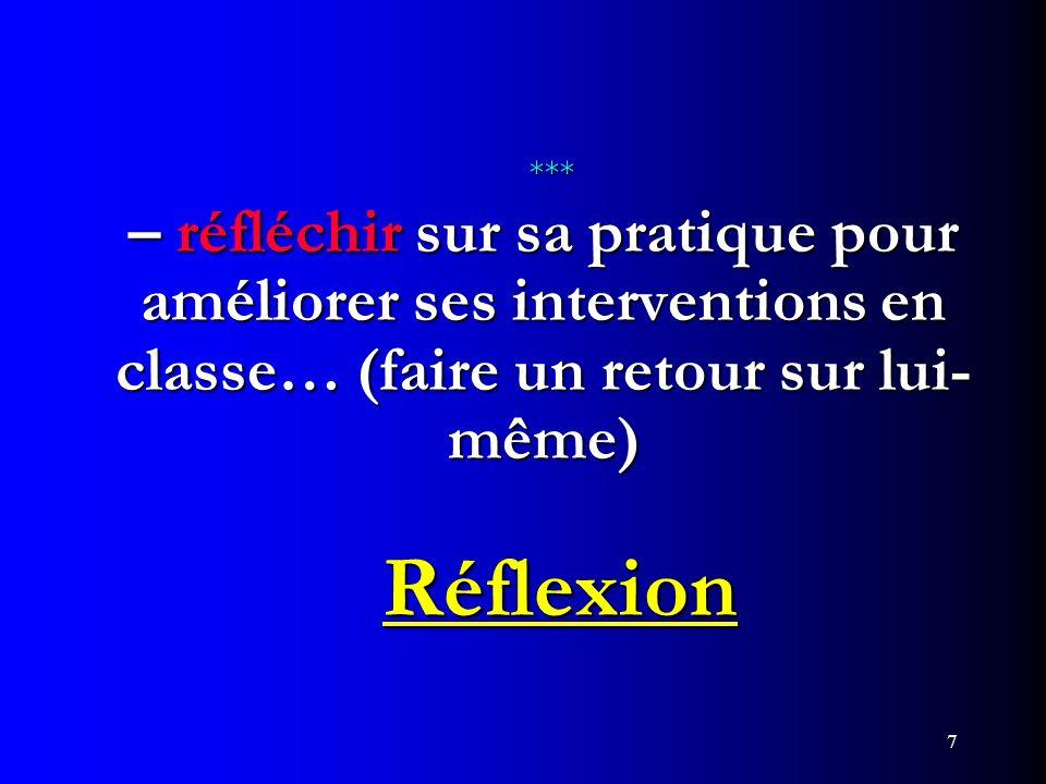 *** – réfléchir sur sa pratique pour améliorer ses interventions en classe… (faire un retour sur lui-même) Réflexion