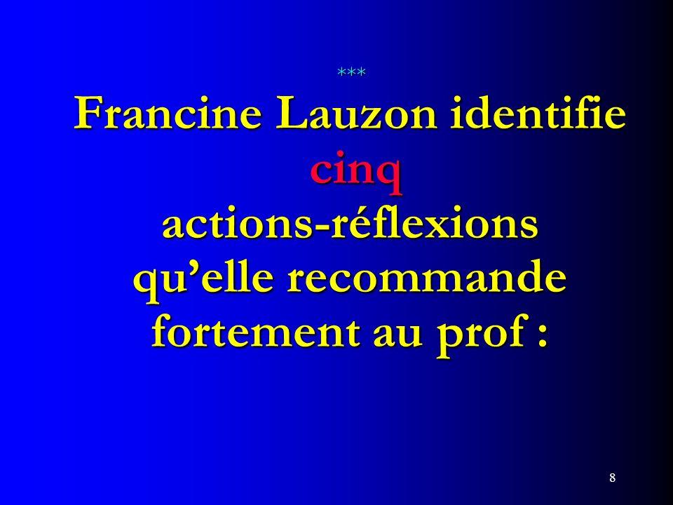 *** Francine Lauzon identifie cinq actions-réflexions qu'elle recommande fortement au prof :
