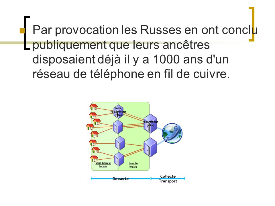 Par provocation les Russes en ont conclu publiquement que leurs ancêtres disposaient déjà il y a 1000 ans d un réseau de téléphone en fil de cuivre.