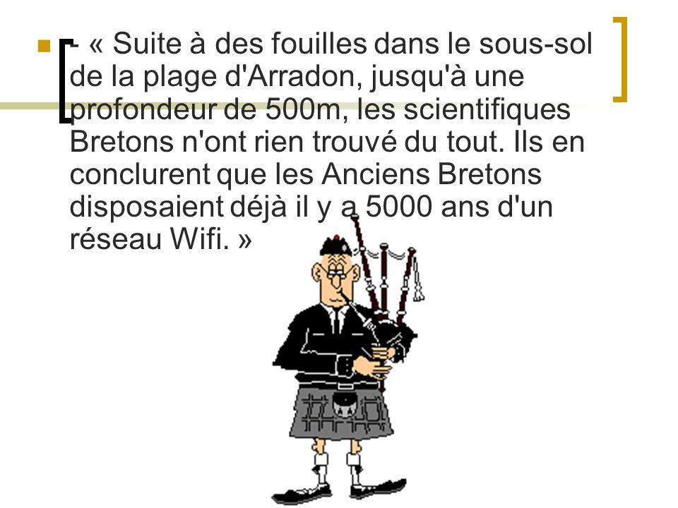 - « Suite à des fouilles dans le sous-sol de la plage d Arradon, jusqu à une profondeur de 500m, les scientifiques Bretons n ont rien trouvé du tout.
