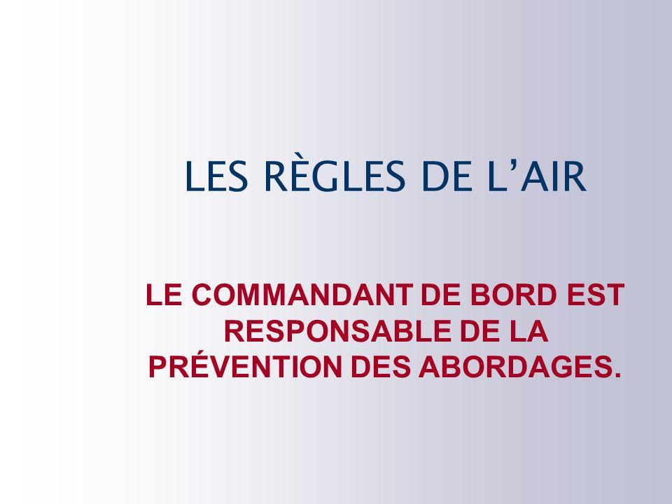 LE COMMANDANT DE BORD EST RESPONSABLE DE LA PRÉVENTION DES ABORDAGES.