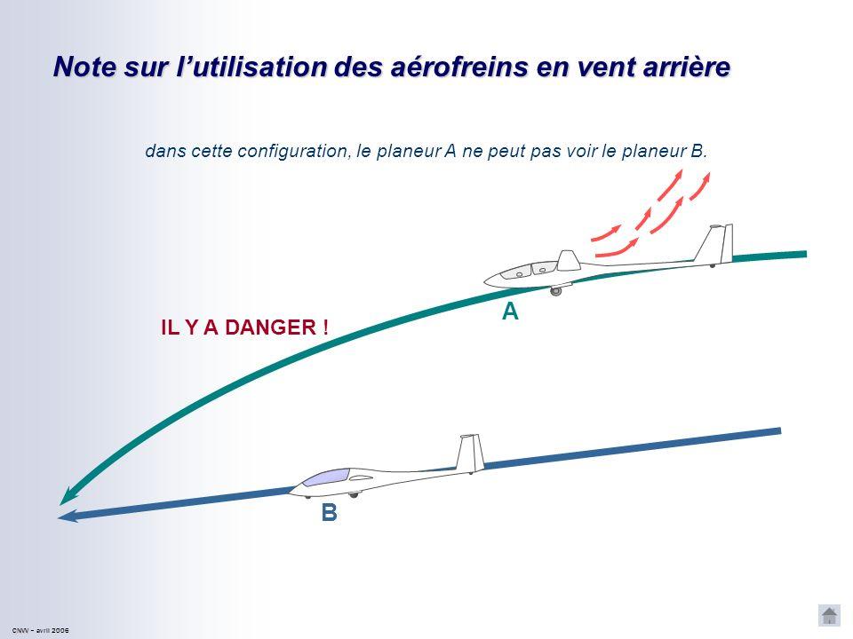 dans cette configuration, le planeur A ne peut pas voir le planeur B.