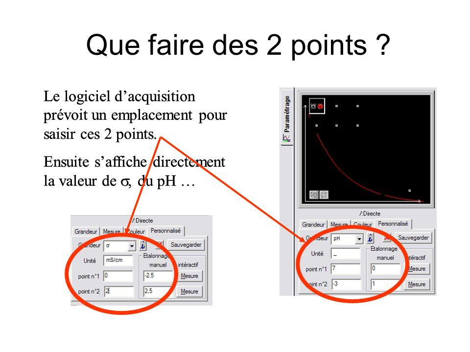Que faire des 2 points Le logiciel d'acquisition prévoit un emplacement pour saisir ces 2 points.