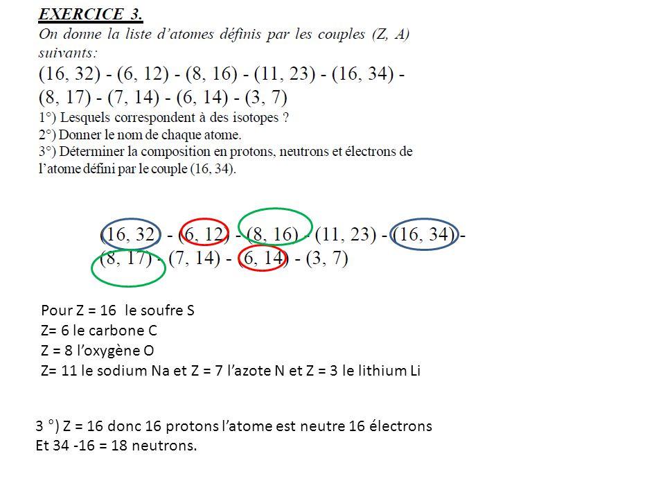 Pour Z = 16 le soufre S Z= 6 le carbone C. Z = 8 l'oxygène O. Z= 11 le sodium Na et Z = 7 l'azote N et Z = 3 le lithium Li.