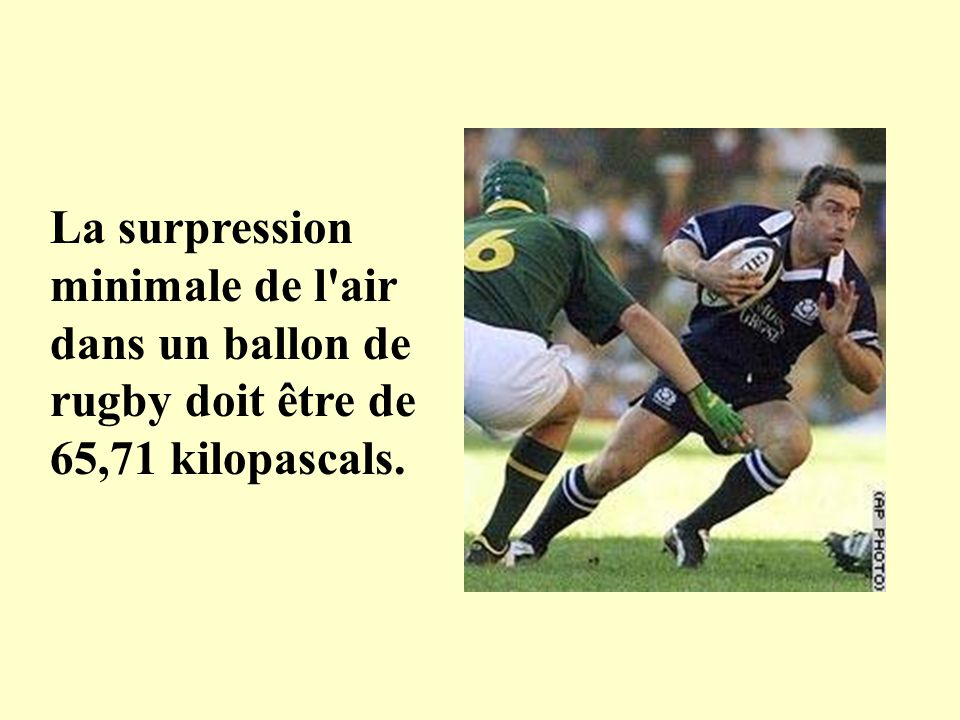 La surpression minimale de l air dans un ballon de rugby doit être de 65,71 kilopascals.