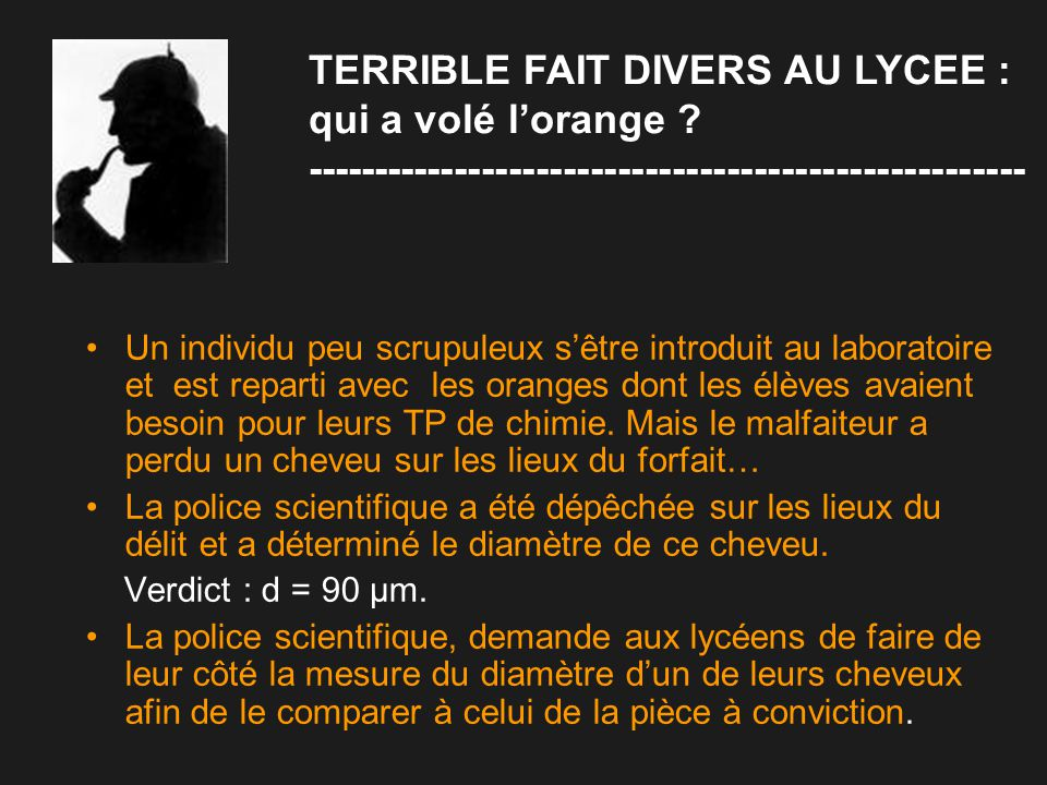 TERRIBLE FAIT DIVERS AU LYCEE : qui a volé l'orange