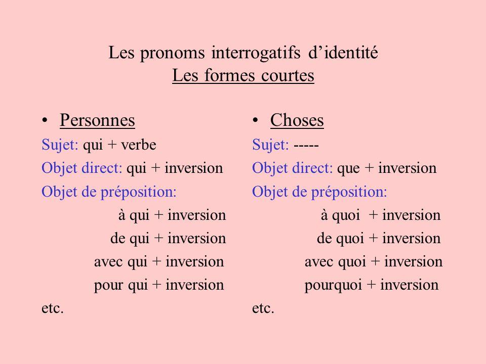 Les pronoms interrogatifs d'identité Les formes courtes