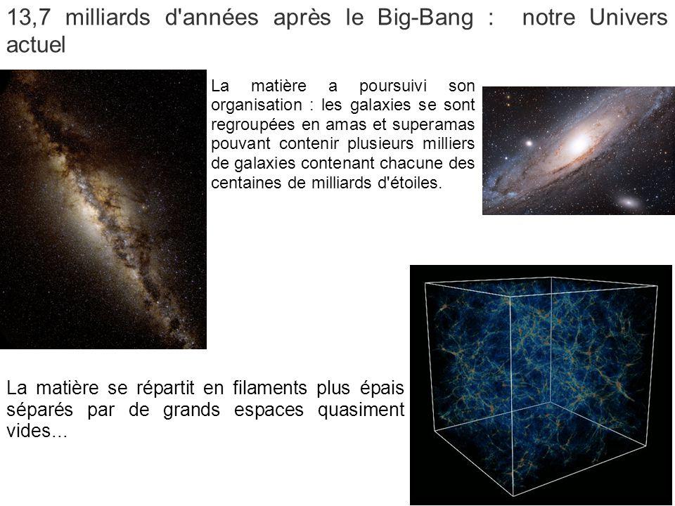 13,7 milliards d années après le Big-Bang : notre Univers actuel