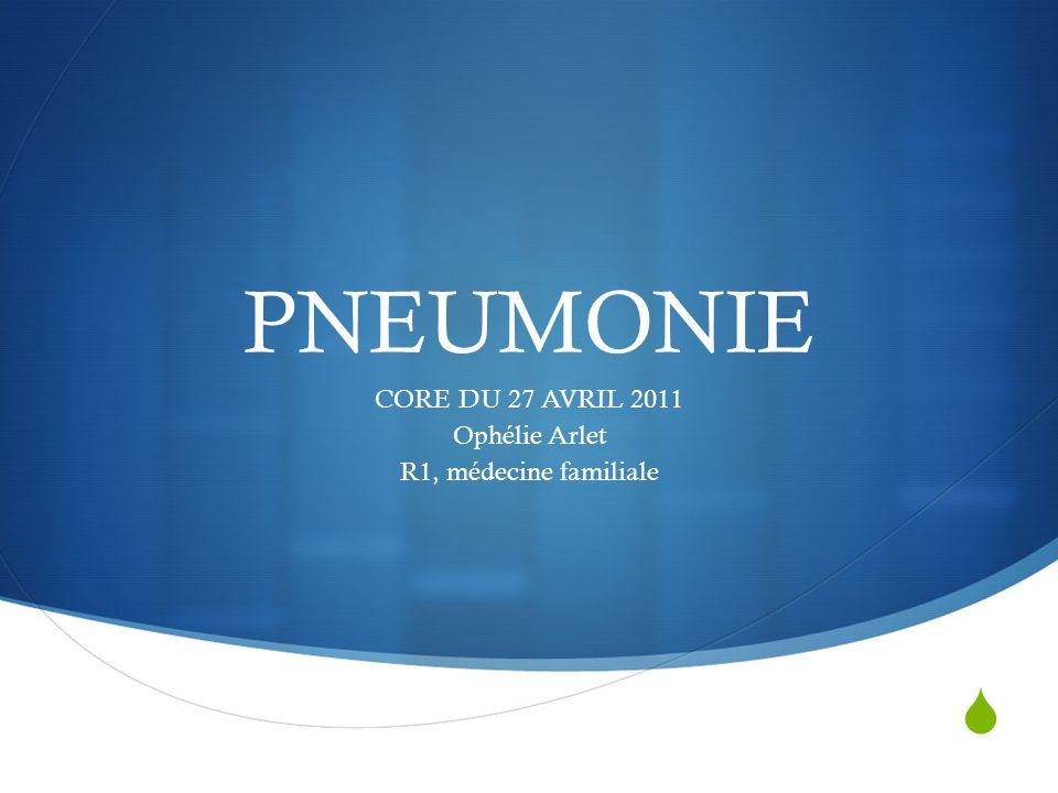 CORE DU 27 AVRIL 2011 Ophélie Arlet R1, médecine familiale