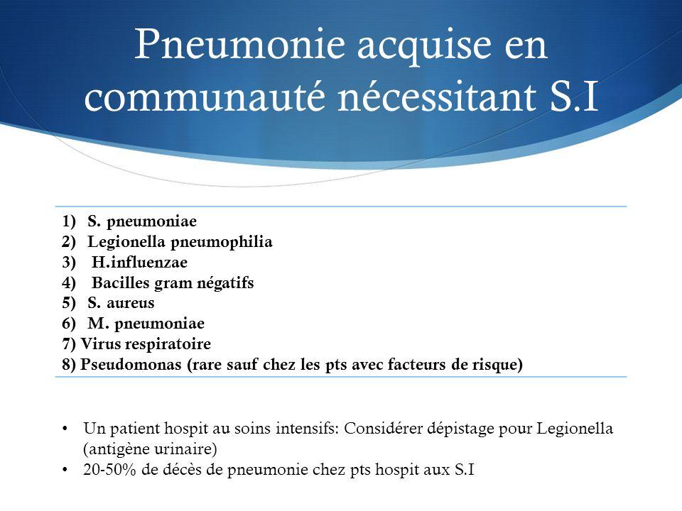 Pneumonie acquise en communauté nécessitant S.I