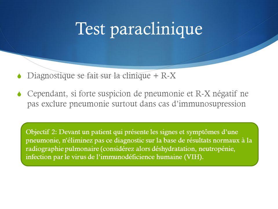 Test paraclinique Diagnostique se fait sur la clinique + R-X