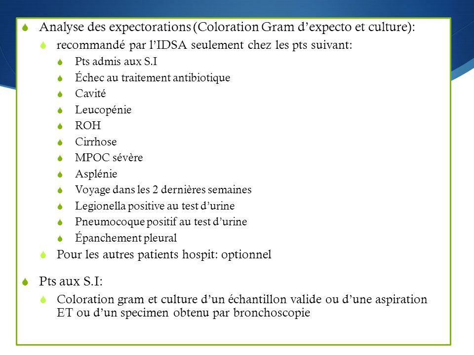 Analyse des expectorations (Coloration Gram d'expecto et culture):