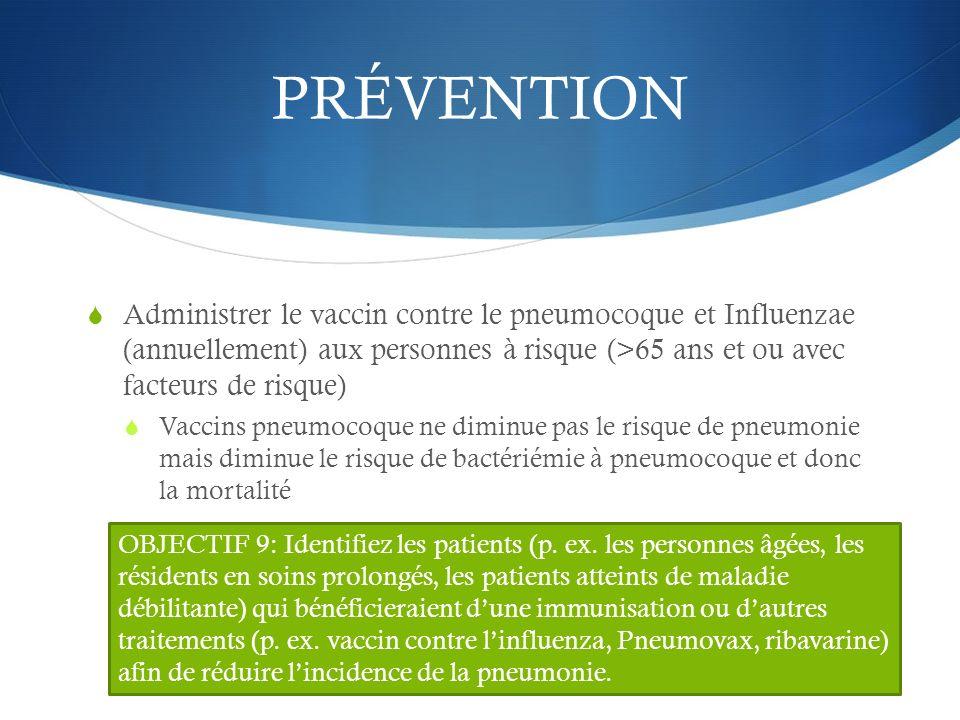 PRÉVENTION Administrer le vaccin contre le pneumocoque et Influenzae (annuellement) aux personnes à risque (>65 ans et ou avec facteurs de risque)