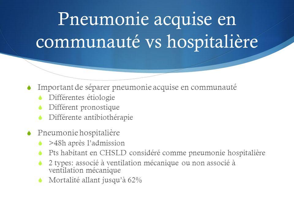 Pneumonie acquise en communauté vs hospitalière