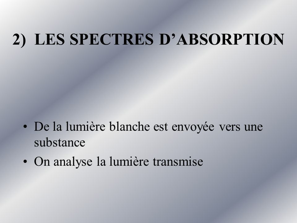 2) LES SPECTRES D'ABSORPTION
