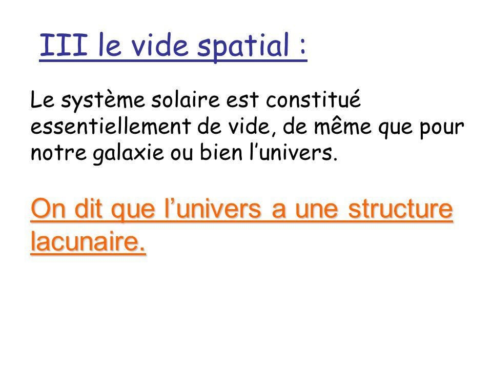 III le vide spatial : On dit que l'univers a une structure lacunaire.
