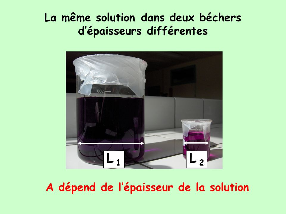 L 1 L 2 La même solution dans deux béchers d'épaisseurs différentes