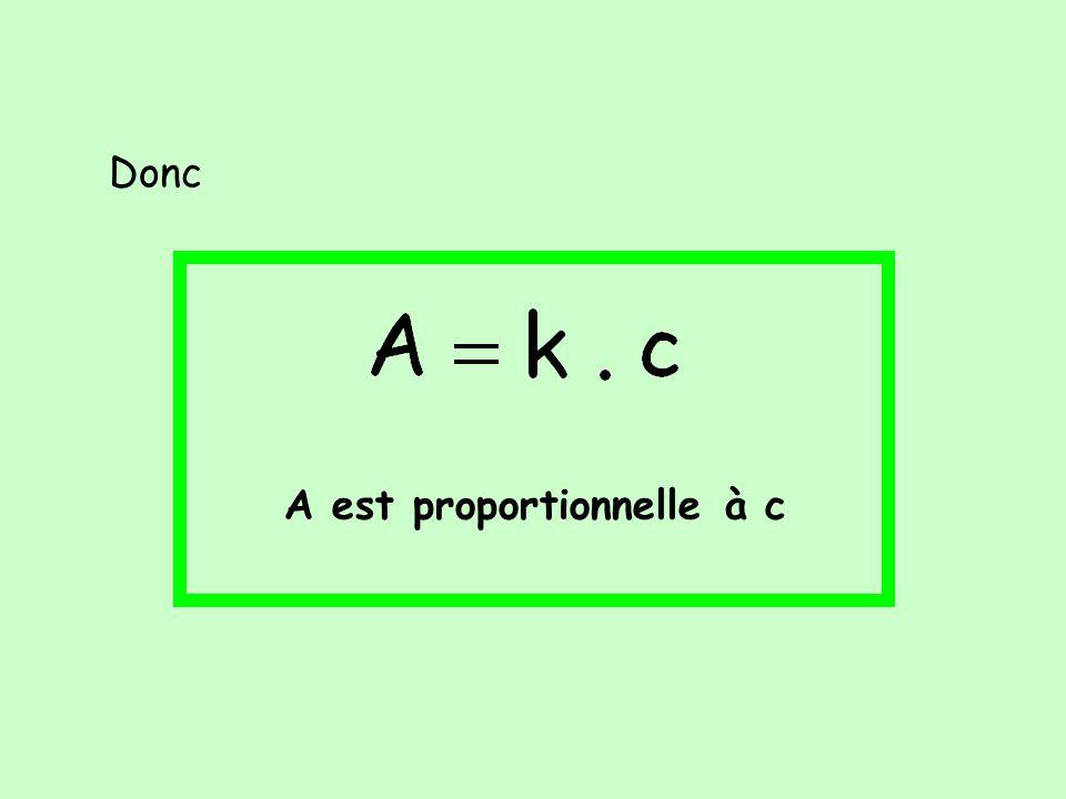 Donc A est proportionnelle à c