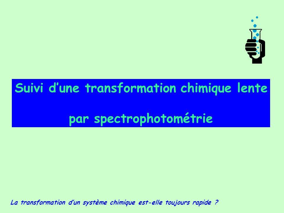 Suivi d'une transformation chimique lente par spectrophotométrie