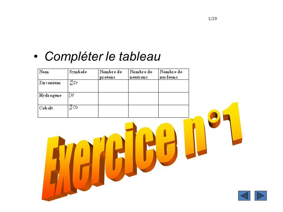 exercice 1 1/29 Compléter le tableau Exercice n°1